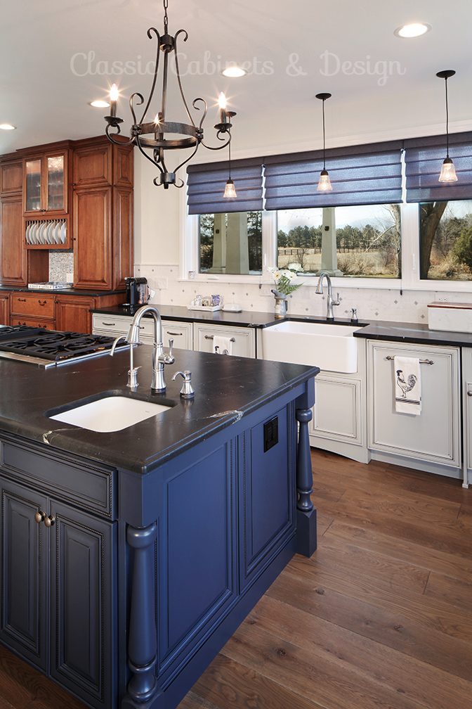 Blue Kitchen Island - blue cabinets